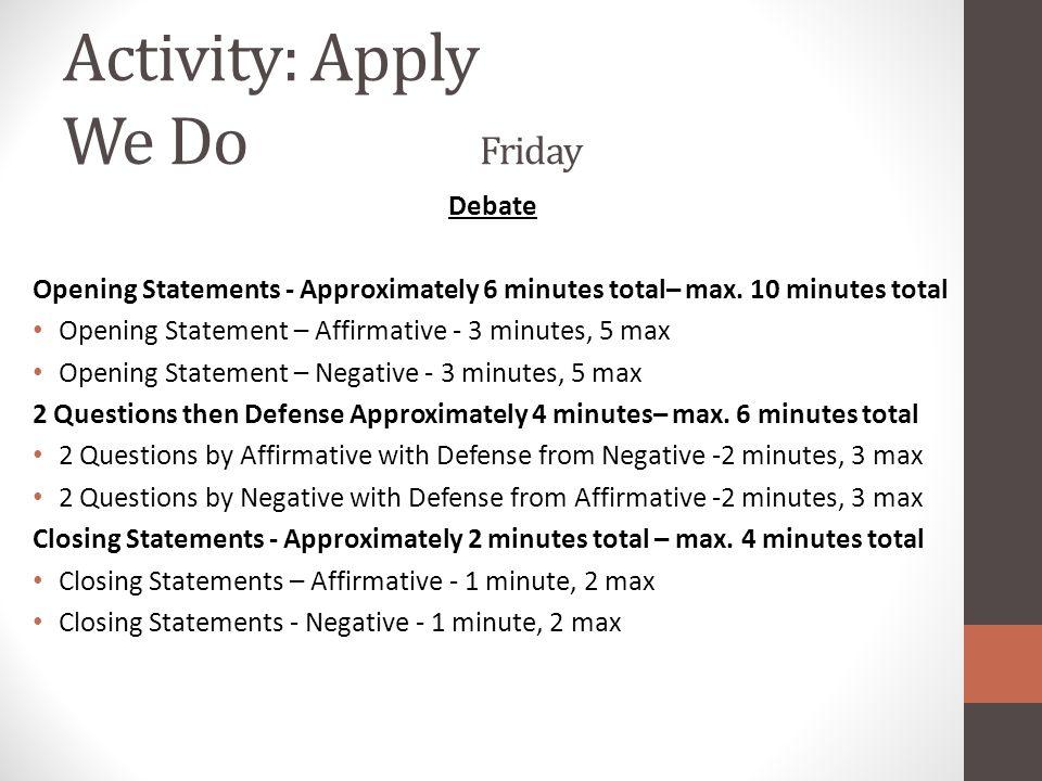 Activity: Apply We Do Friday