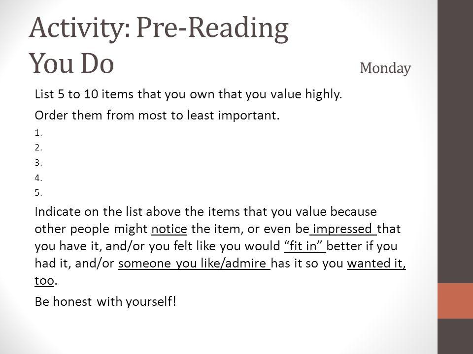 Activity: Pre-Reading You Do Monday