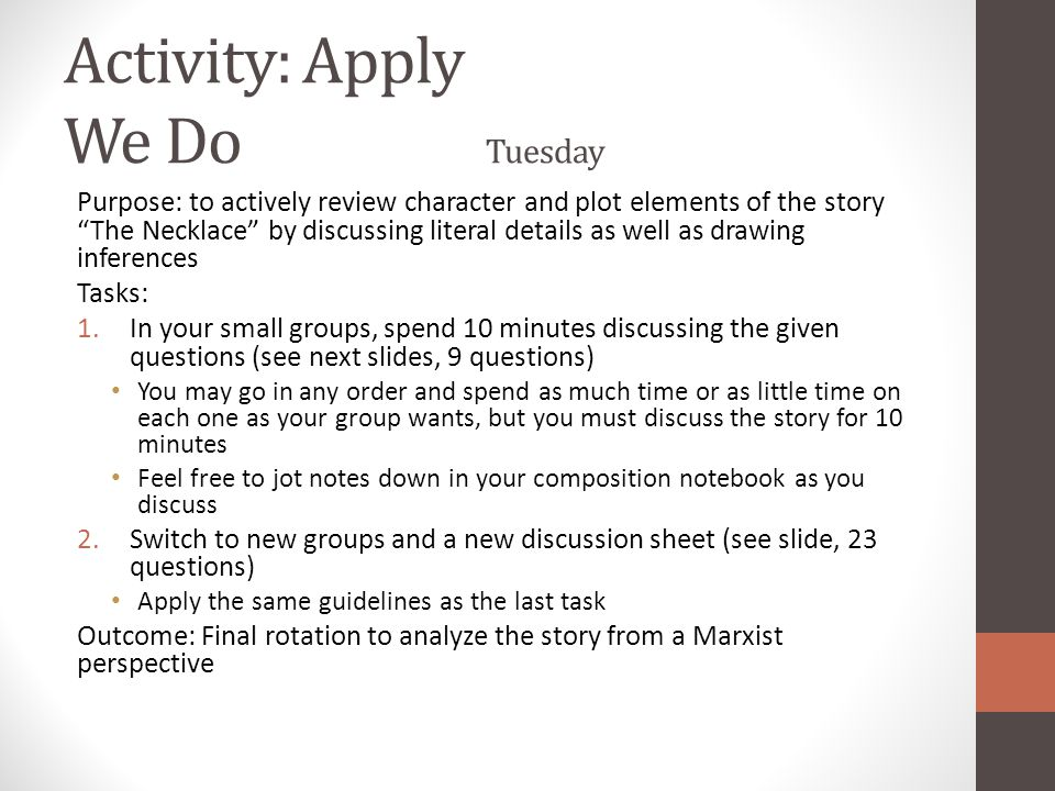 Activity: Apply We Do Tuesday