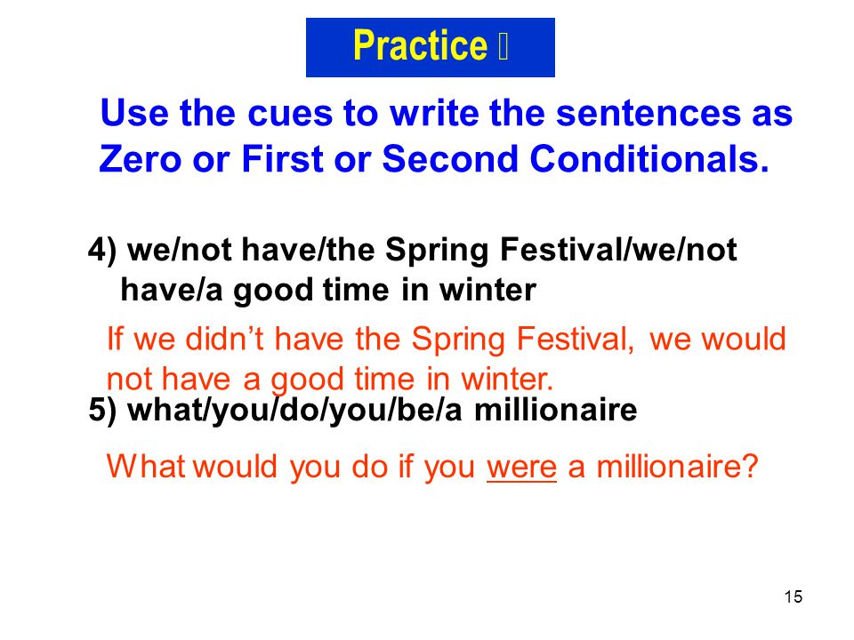 Practice Ⅱ Use the cues to write the sentences as