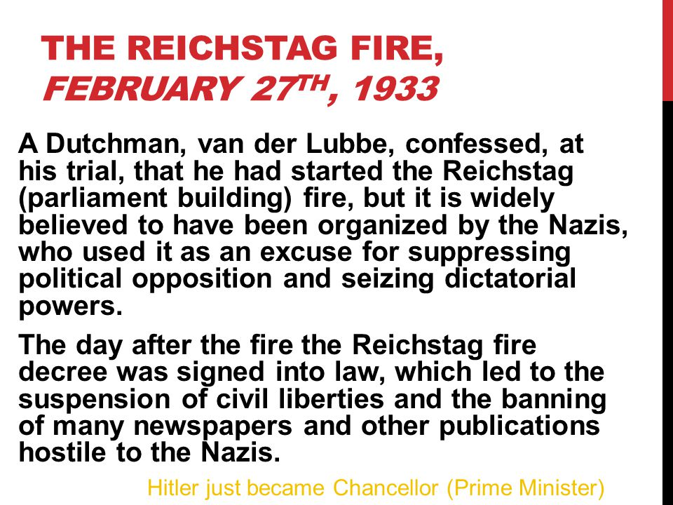The Reichstag Fire, February 27th, 1933