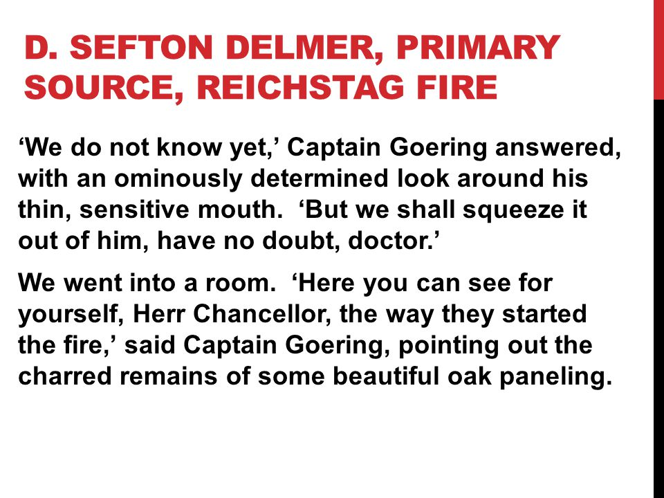 D. Sefton Delmer, Primary Source, Reichstag Fire