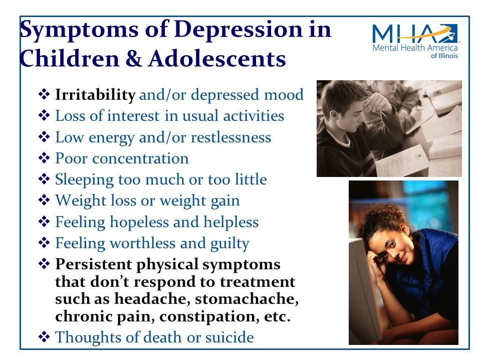 Symptoms of Depression in Children & Adolescents