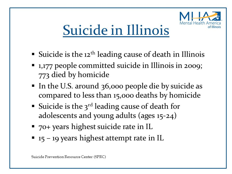 Suicide in Illinois Suicide is the 12th leading cause of death in Illinois. 1,177 people committed suicide in Illinois in 2009; 773 died by homicide.