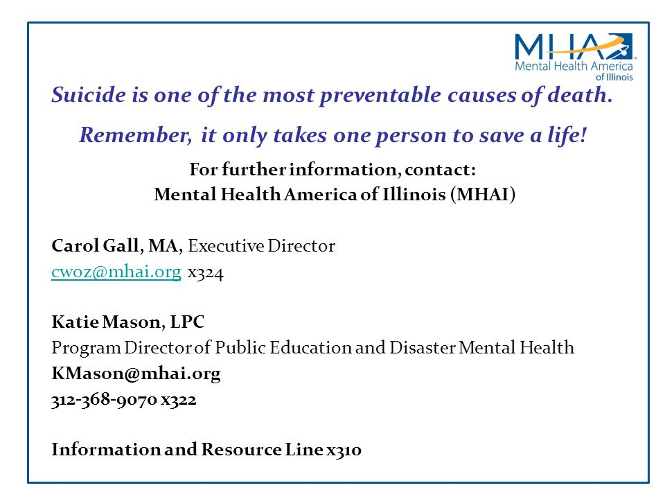 Suicide is one of the most preventable causes of death.