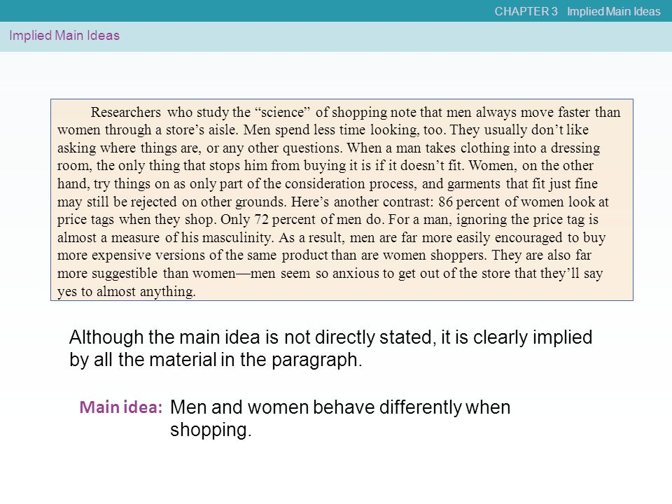 Men and women behave differently when shopping. Main idea:
