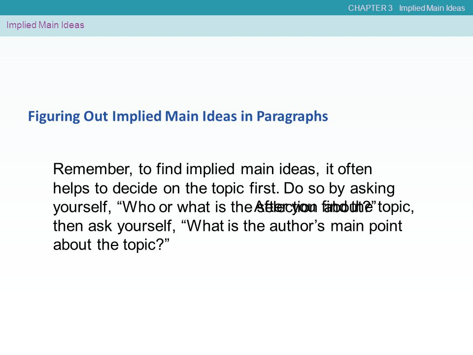 Figuring Out Implied Main Ideas in Paragraphs