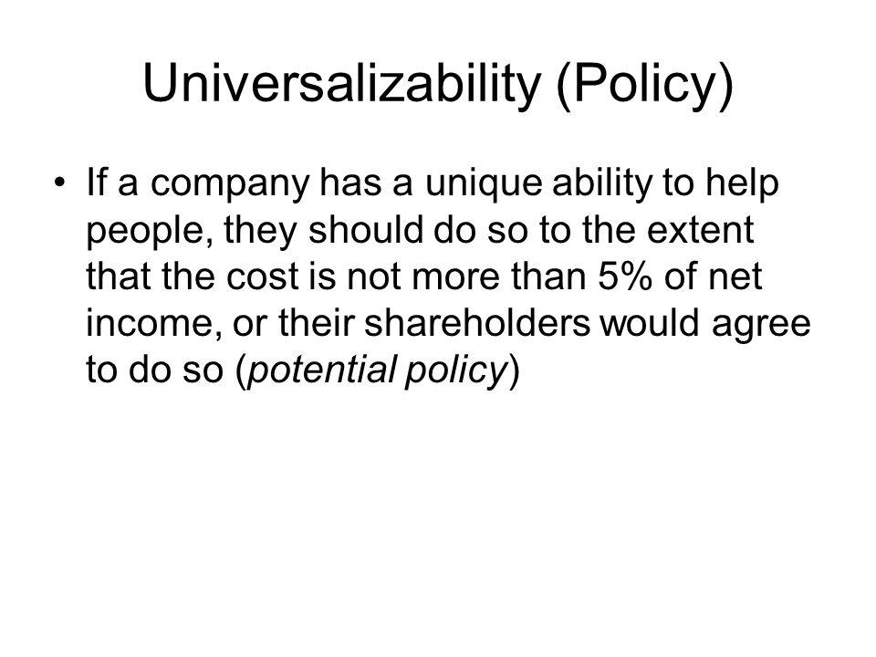 Universalizability (Policy)