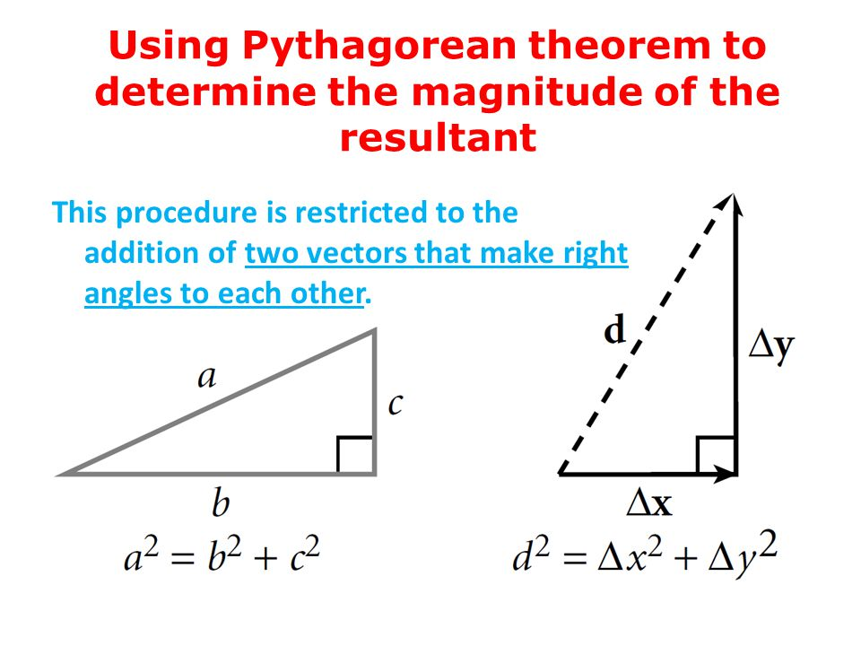 Using Pythagorean theorem to determine the magnitude of the resultant