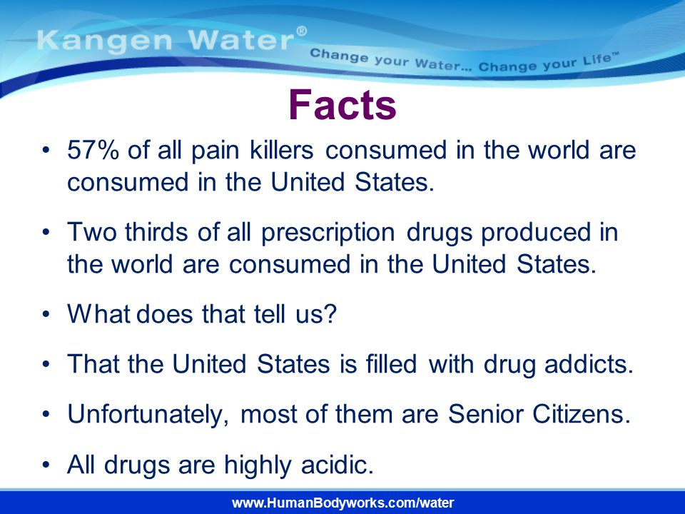 Facts 57% of all pain killers consumed in the world are consumed in the United States.