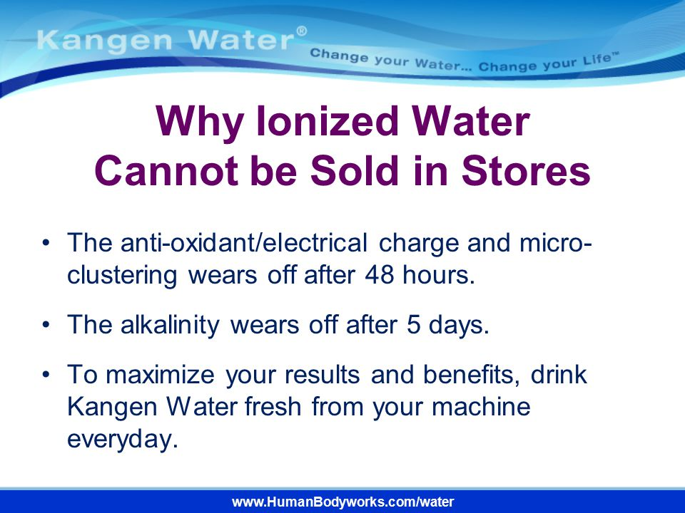 Why Ionized Water Cannot be Sold in Stores