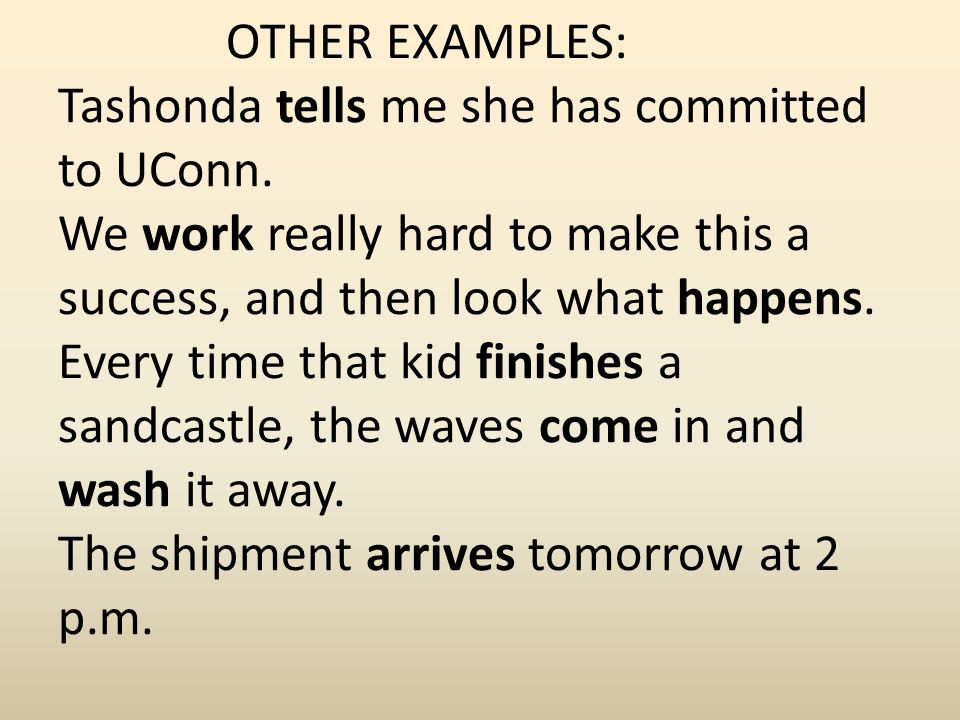 OTHER EXAMPLES: Tashonda tells me she has committed to UConn