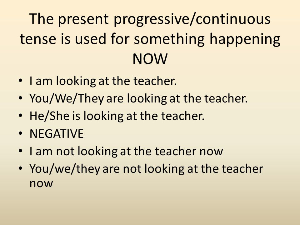 The present progressive/continuous tense is used for something happening NOW
