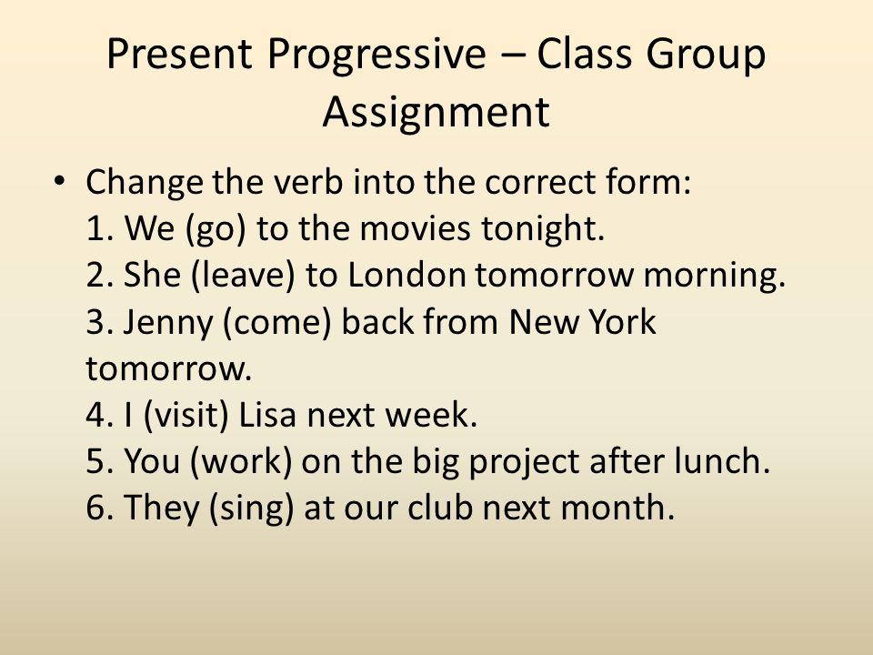 Present Progressive – Class Group Assignment