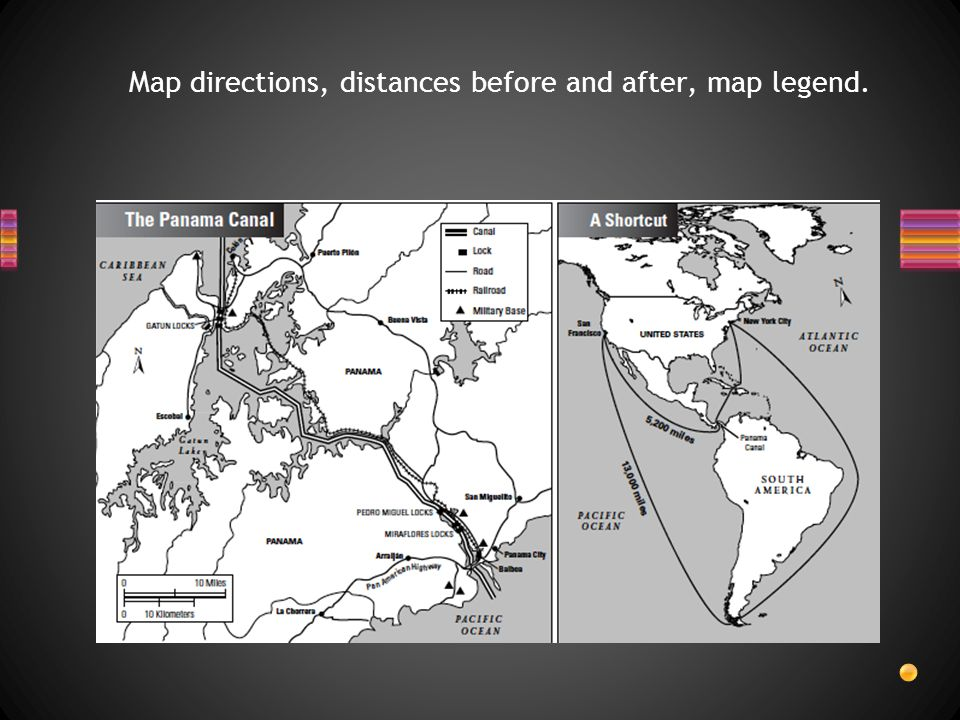 Map directions, distances before and after, map legend.