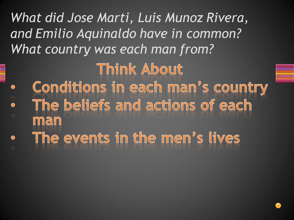 Conditions in each man's country The beliefs and actions of each man