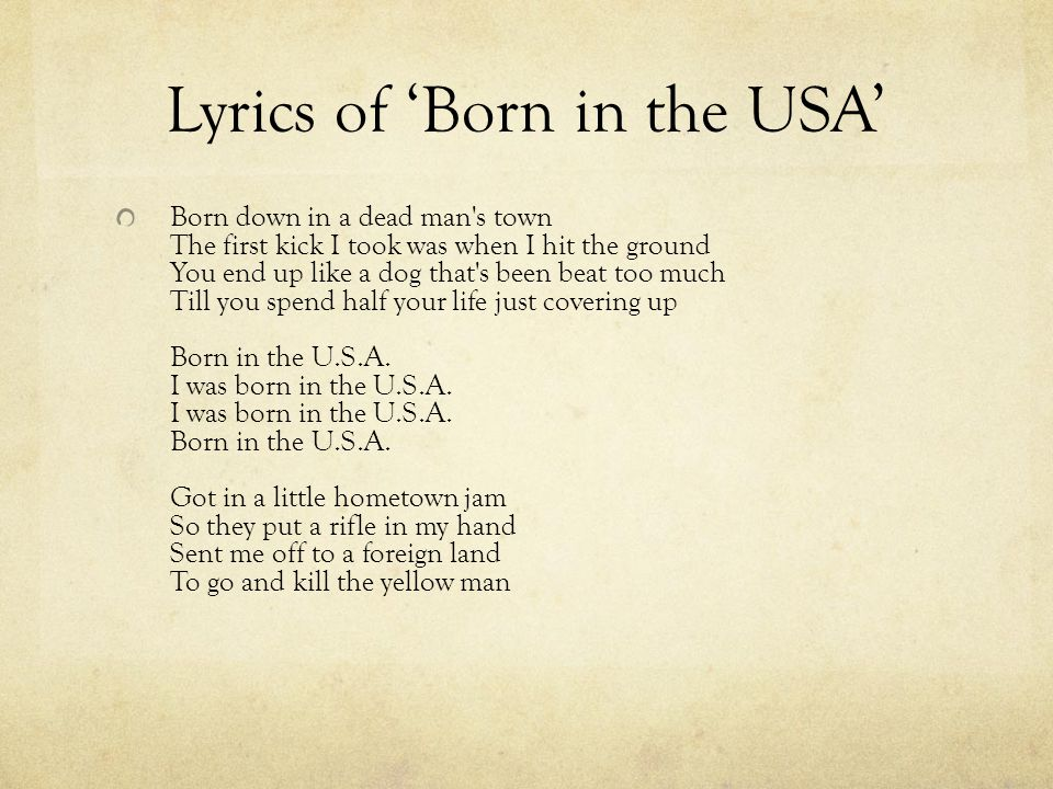Lyrics of 'Born in the USA'