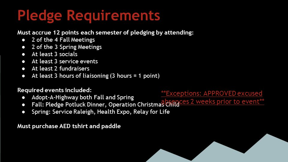 Member Requirements Must accrue 10 points each semester by attending: 2 of the 4 Fall Meetings. 2 of the 3 Spring Meetings.