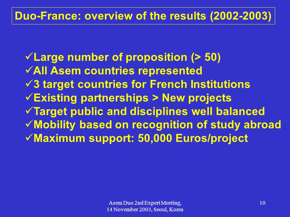 Duo-France: overview of the results (2002-2003)