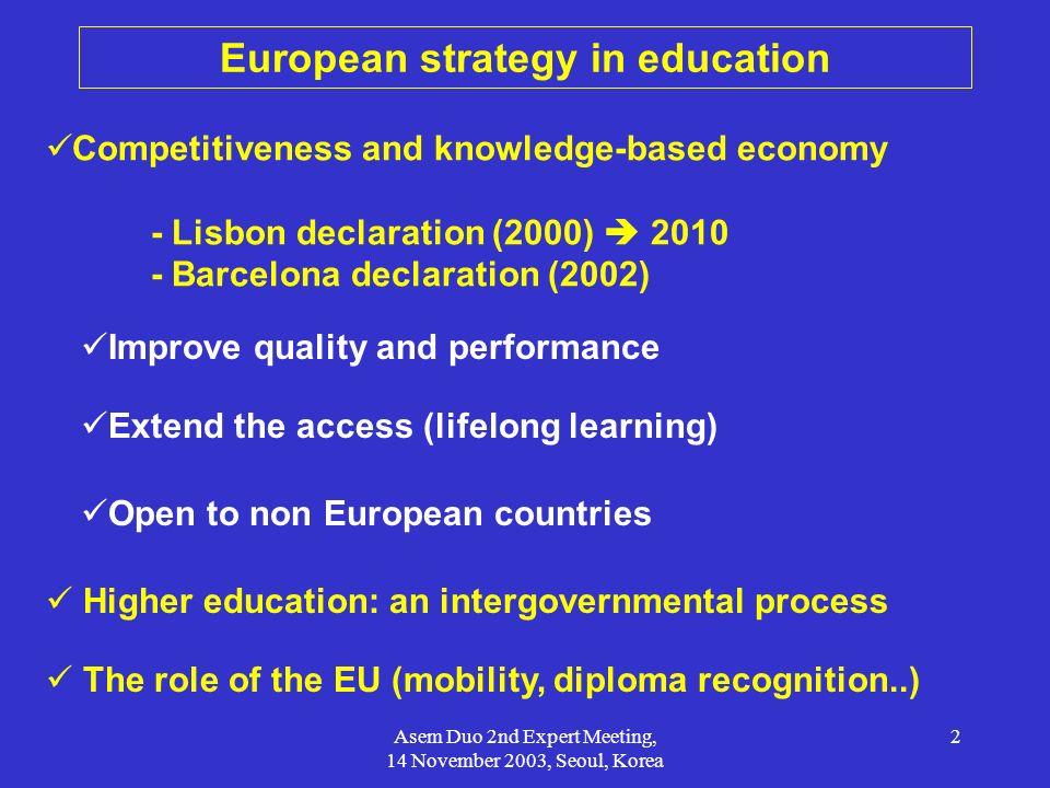 European strategy in education