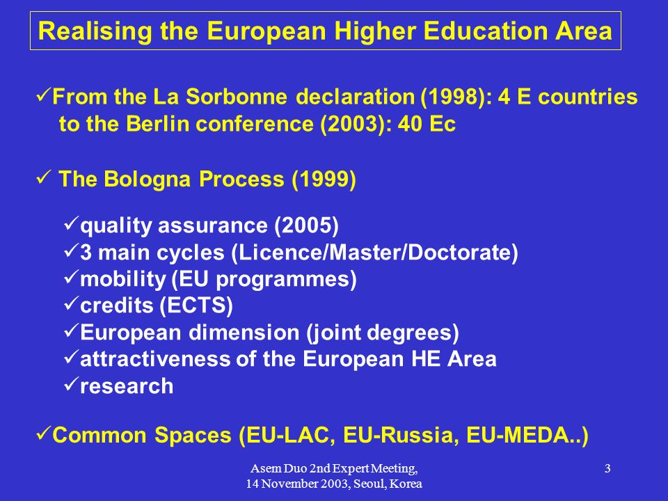 Realising the European Higher Education Area