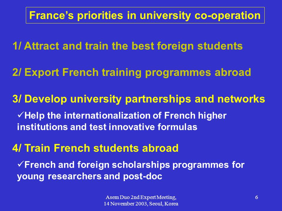 France's priorities in university co-operation