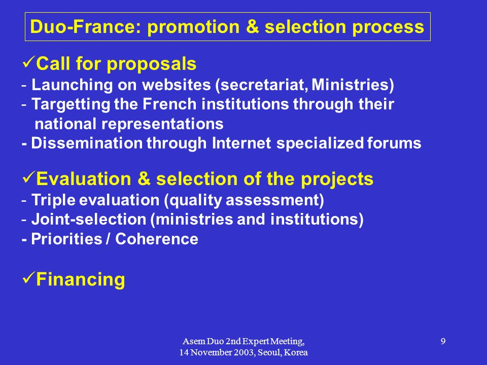 Duo-France: promotion & selection process