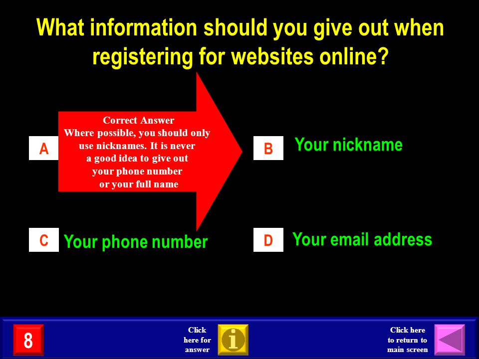 What information should you give out when registering for websites online