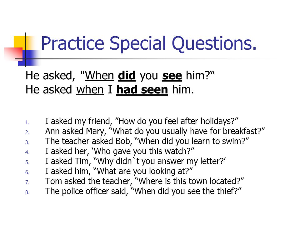 Practice Special Questions.
