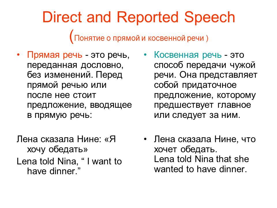 Direct and Reported Speech (Понятие о прямой и косвенной речи )