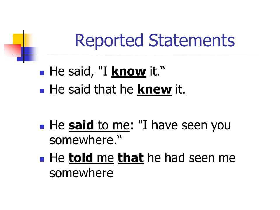 Reported Statements He said, I know it. He said that he knew it.