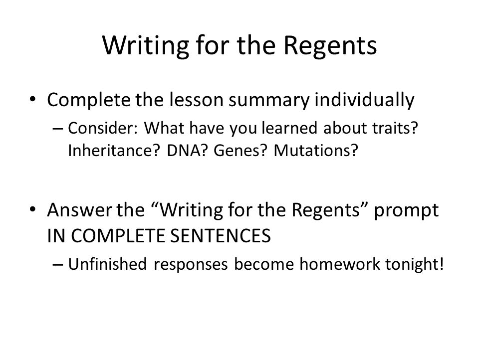 Writing for the Regents