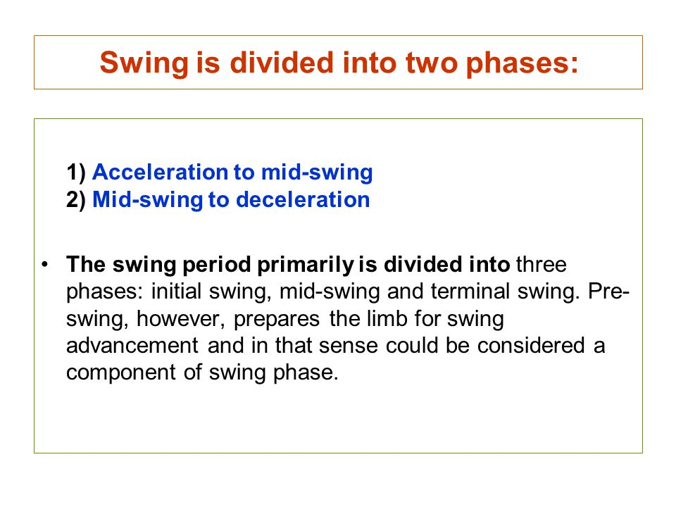 Swing is divided into two phases: