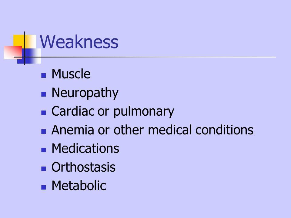 Weakness Muscle Neuropathy Cardiac or pulmonary