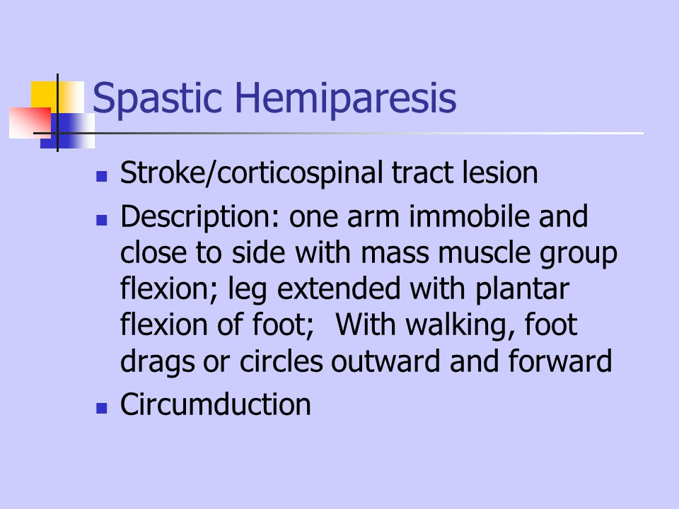 Spastic Hemiparesis Stroke/corticospinal tract lesion