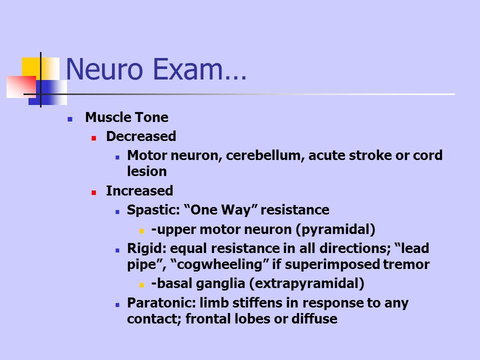 Neuro Exam… Muscle Tone Decreased