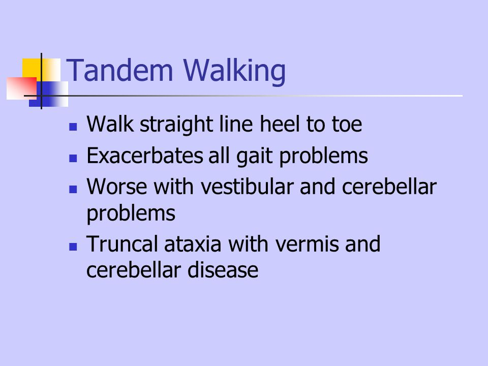 Tandem Walking Walk straight line heel to toe