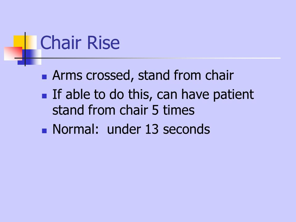 Chair Rise Arms crossed, stand from chair