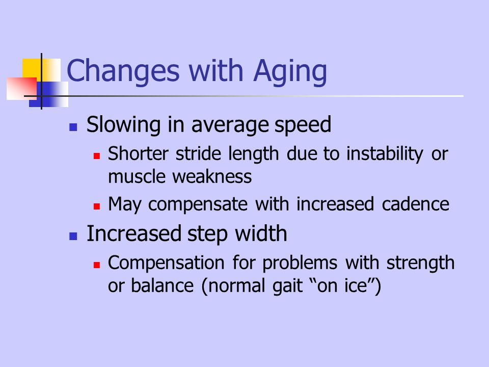 Changes with Aging Slowing in average speed Increased step width