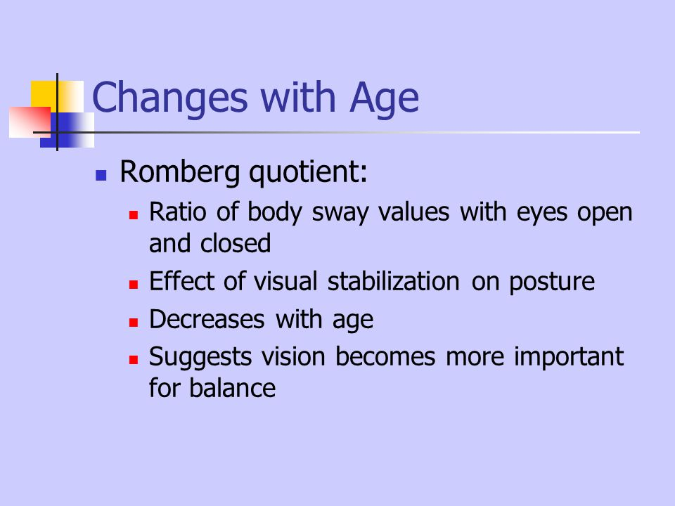 Changes with Age Romberg quotient: