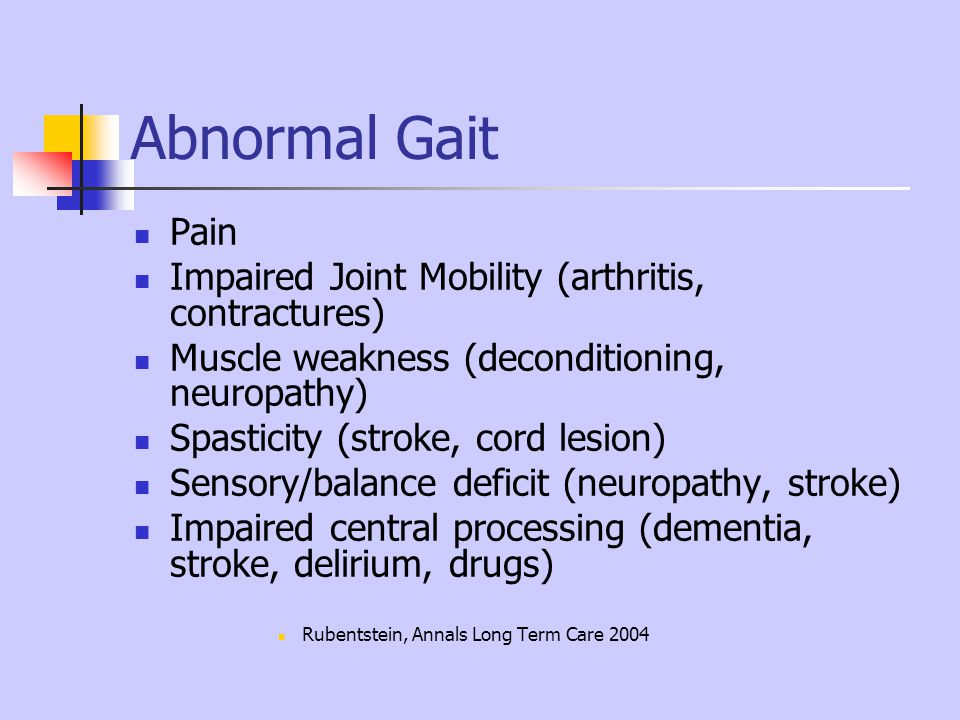 Abnormal Gait Pain Impaired Joint Mobility (arthritis, contractures)