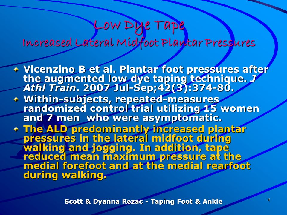 Low Dye Tape Increased Lateral Midfoot Plantar Pressures
