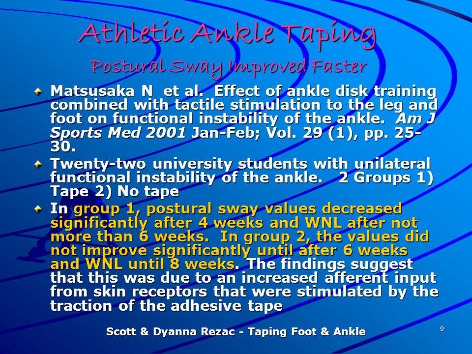 Athletic Ankle Taping Postural Sway Improved Faster