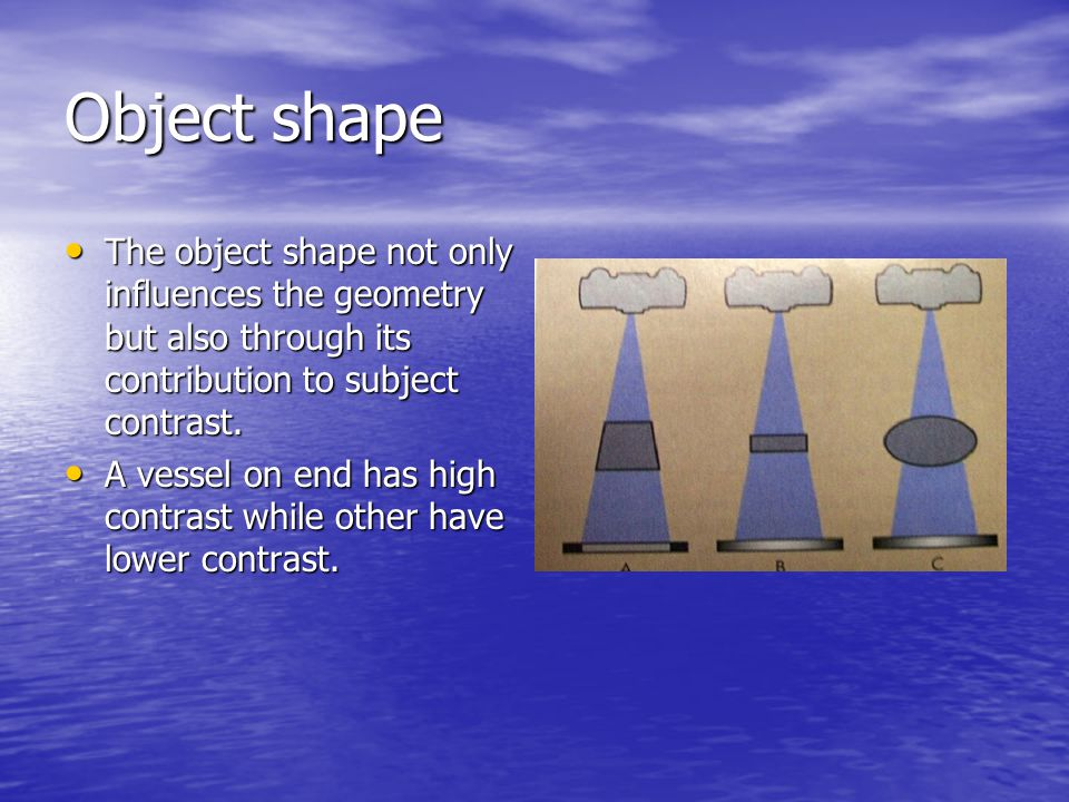 Object shape The object shape not only influences the geometry but also through its contribution to subject contrast.