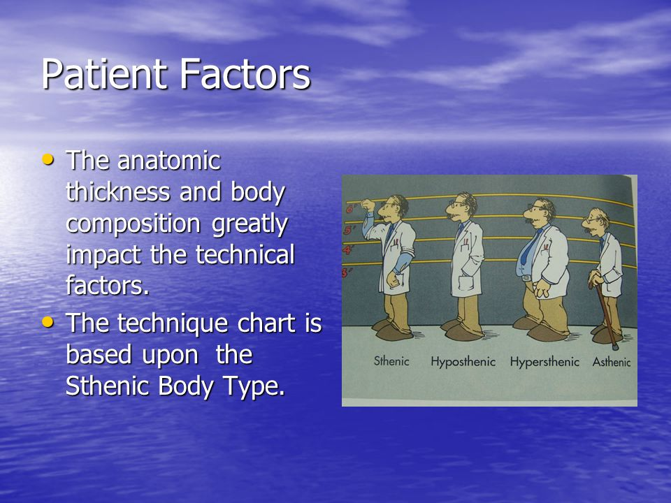 Patient Factors The anatomic thickness and body composition greatly impact the technical factors.