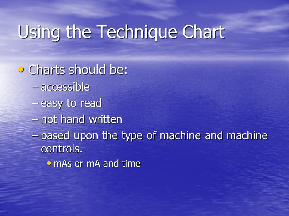 Using the Technique Chart