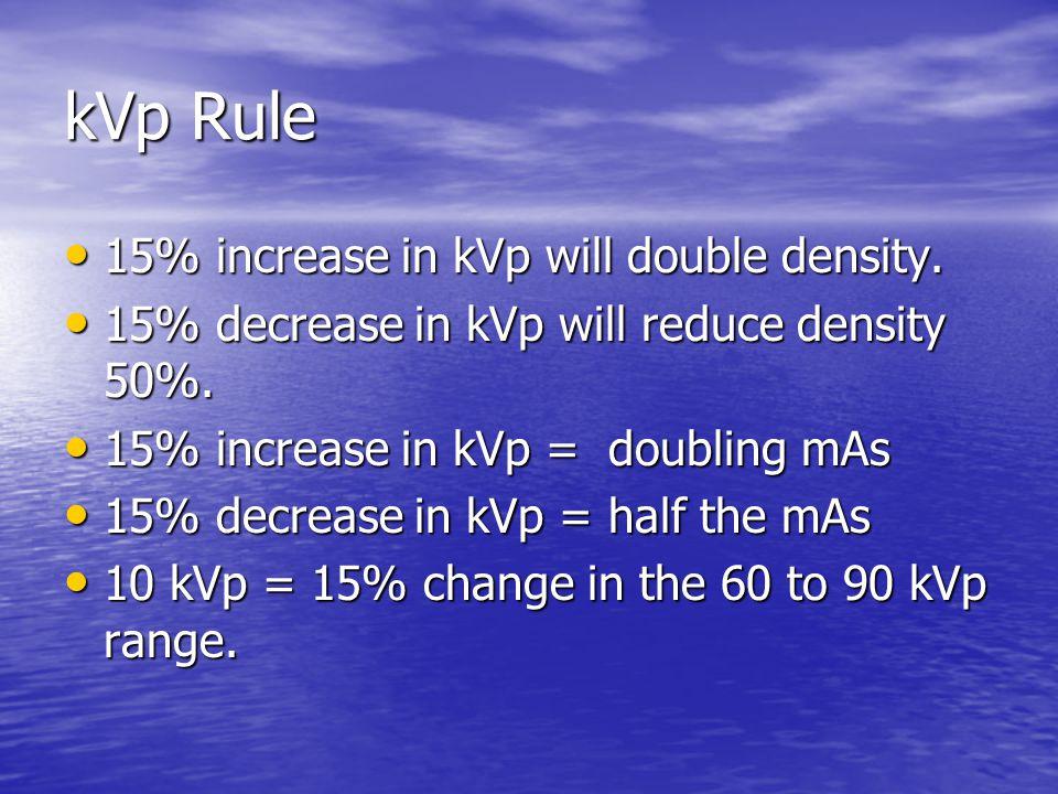 kVp Rule 15% increase in kVp will double density.