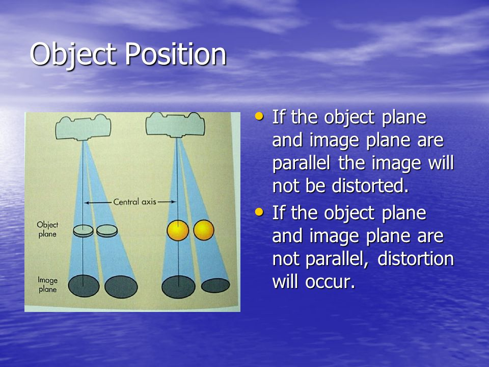 Object Position If the object plane and image plane are parallel the image will not be distorted.