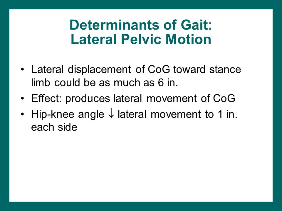 Determinants of Gait: Lateral Pelvic Motion