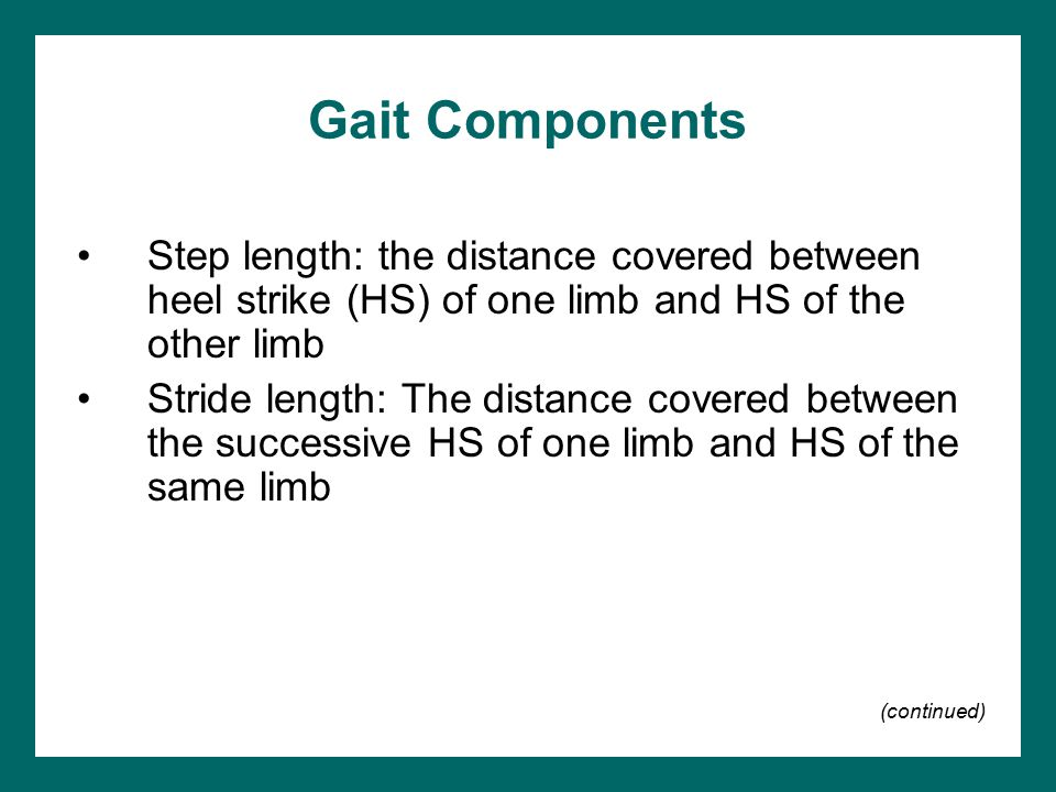 Gait Components Step length: the distance covered between heel strike (HS) of one limb and HS of the other limb.